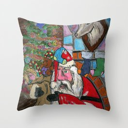 Home Invasion Santa Throw Pillow