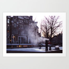 Winter morning in Amsterdam Art Print