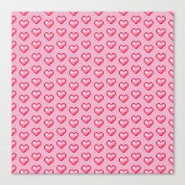pink pixel hearts Canvas Print