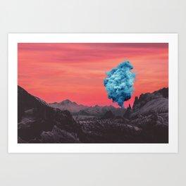 Smoke Signal at Sunset in Seceda, Italy Art Print