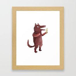 Wolf and IceCream Framed Art Print