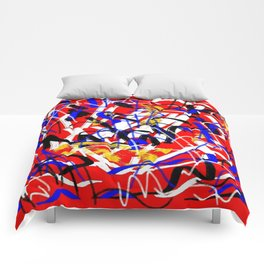 Abstract red white yellow blue Comforters