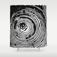 tree rings Shower Curtains featuring Tree Rings 2 by vogel