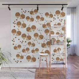 Hedgehogs in autumn Wall Mural