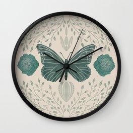 Butterfly & botanical symmetry Wall Clock