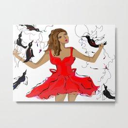 Red Dress, Black Birds by Paulette Lust Metal Print