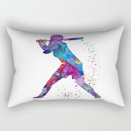 Girl Baseball Softball Batter Watercolour Sports Art Colorful Baseball Print Rectangular Pillow
