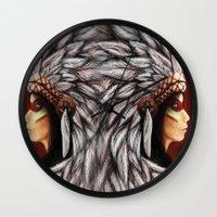 native american Wall Clocks featuring Native by PanDuhVka