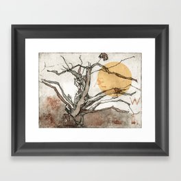 The Old Yew Tree | Watercolored Etching Framed Art Print