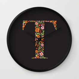 Retro Floral Letter T Wall Clock