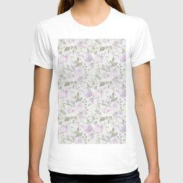 Mauve green lavender blush watercolor boho floral T-shirt