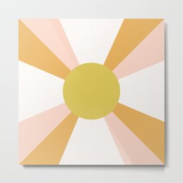 Retro Sun Rays - Morning Light Metal Print