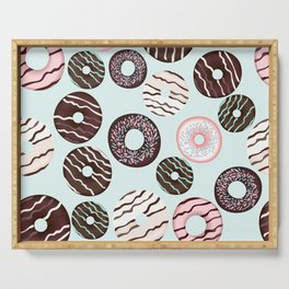 Vector pattern with sweet brown chocolate donuts for design Serving Tray