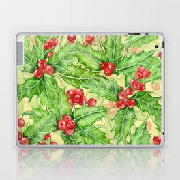 Holly berry watercolor Christmas pattern Laptop & iPad Skin