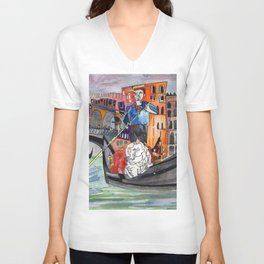 Lovers in Venice Unisex V-Neck
