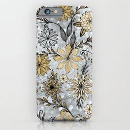 Elegant Girly Gold & Silver Glitter Floral Design iPhone Case