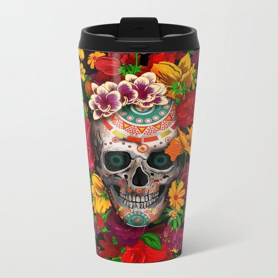 Day of the dead sugar skull flower iPhone 4 4s 5 5c 6, ipod, ipad, pillow case Metal Travel Mug