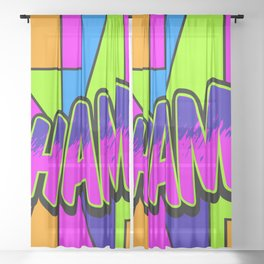 wham in neon Sheer Curtain