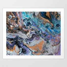 Molten Time (flow art on canvas) Art Print