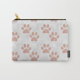 Rose Gold Paw Print Pattern Carry-All Pouch