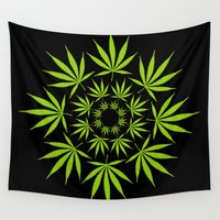 cannabis Wall Tapestries featuring Cannabis Leaf Circle (Black) by The Image Zone