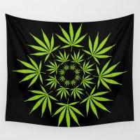 cannabis Wall Tapestries featuring Cannabis Leaf Circle (Black) by Thisisnotme
