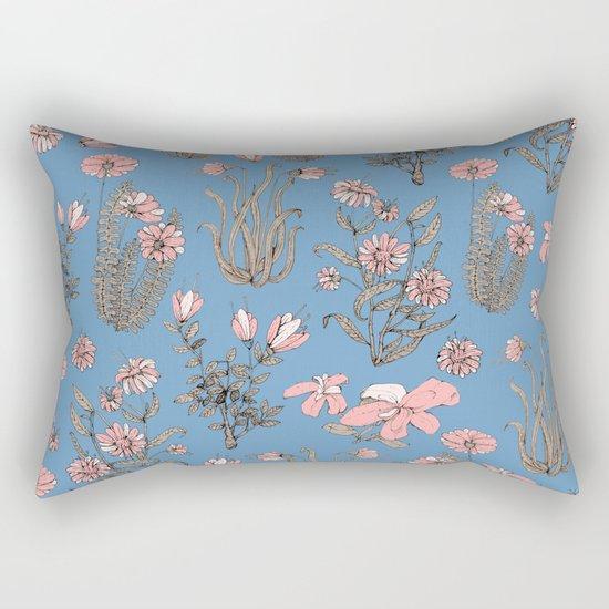 Flowers on Blue! Rectangular Pillow