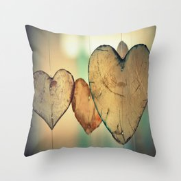 Vintage Boho Chic Bokeh Hearts Wind Chimes Throw Pillow