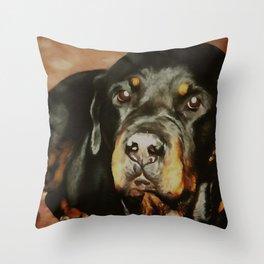 Dogs Lover Rottweiler Pet Portrait Throw Pillow