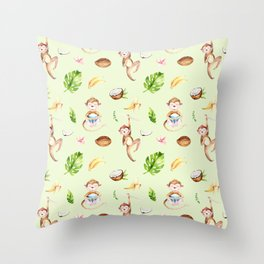 Cute pink brown watercolor hand painted monkey floral pattern Throw Pillow