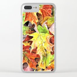 Autumn Leaves with Raindrops, Fall Art, Colorful Leaves, Anne Hockenberry Clear iPhone Case