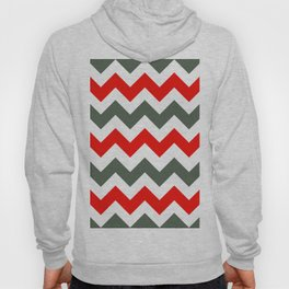 Chevron Pattern In Poppy Red Grey and White Hoody