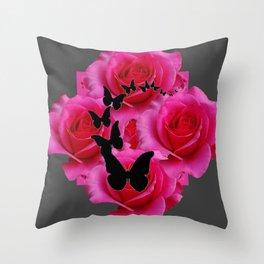BLACK BUTTERFLIES FUCHSIA ROSES GREY ART Throw Pillow