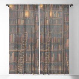 Night library Sheer Curtain