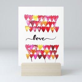 Love Hearts Watercolor Mini Art Print