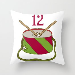Vintage Inspired 12 Days of Christmas Twelve Drummers Drumming Throw Pillow