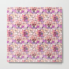 Vintage Grandma Quilt, Textured Watercolor Lavender Purple Flower Quilting Pattern Illustration Metal Print