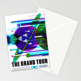 NASA Space Saturn Shuttle Retro Poster Futuristic Explorer Blue Stationery Cards
