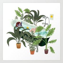 bathtub vacation Art Print