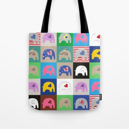 Elephant Love Collage Tote Bag
