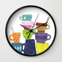 Coffee And Tea Cups And Mugs Stacked High Wall Clock