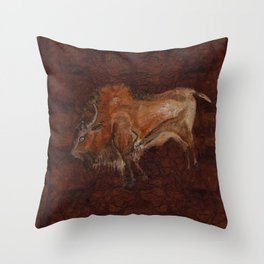 Paleolithic Bison Cave Painting Throw Pillow