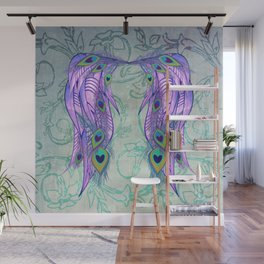 Peacock Feather Angel Wing Wallpaper Wall Mural