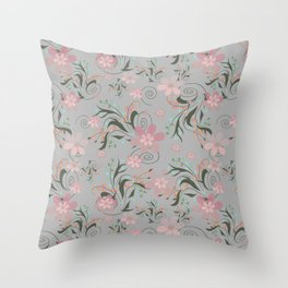 Retro . Pink flowers on grey background . Throw Pillow