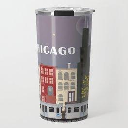 Chicago, Illinois - Skyline Illustration by Loose Petals Travel Mug