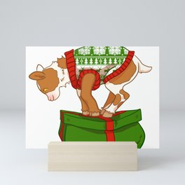 Pink and Brown Christmas Sweater Goat Mini Art Print