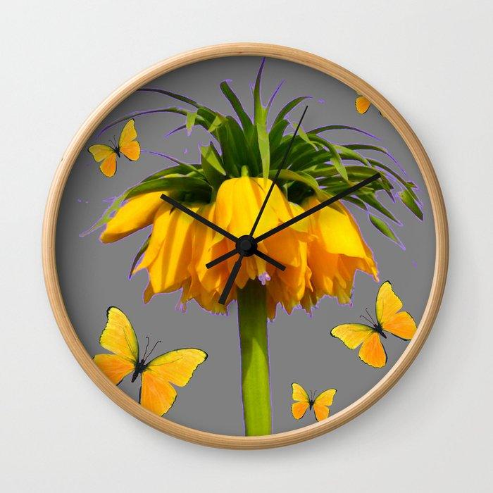 BUTTERFLIES YELLOW CROWN IMPERIAL FLOWERS Wall Clock
