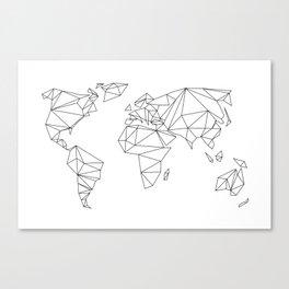 geometrical world map - white Canvas Print