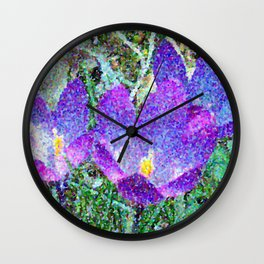 Purple Crocus Mosaic Wall Clock