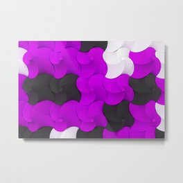 Black, white and purple twisted pyramids Metal Print